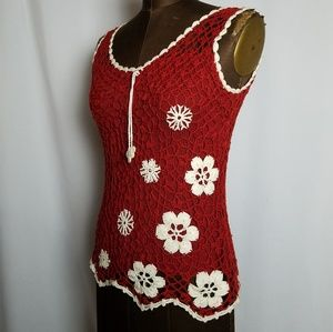 Vintage boho flower lace crochet top size S